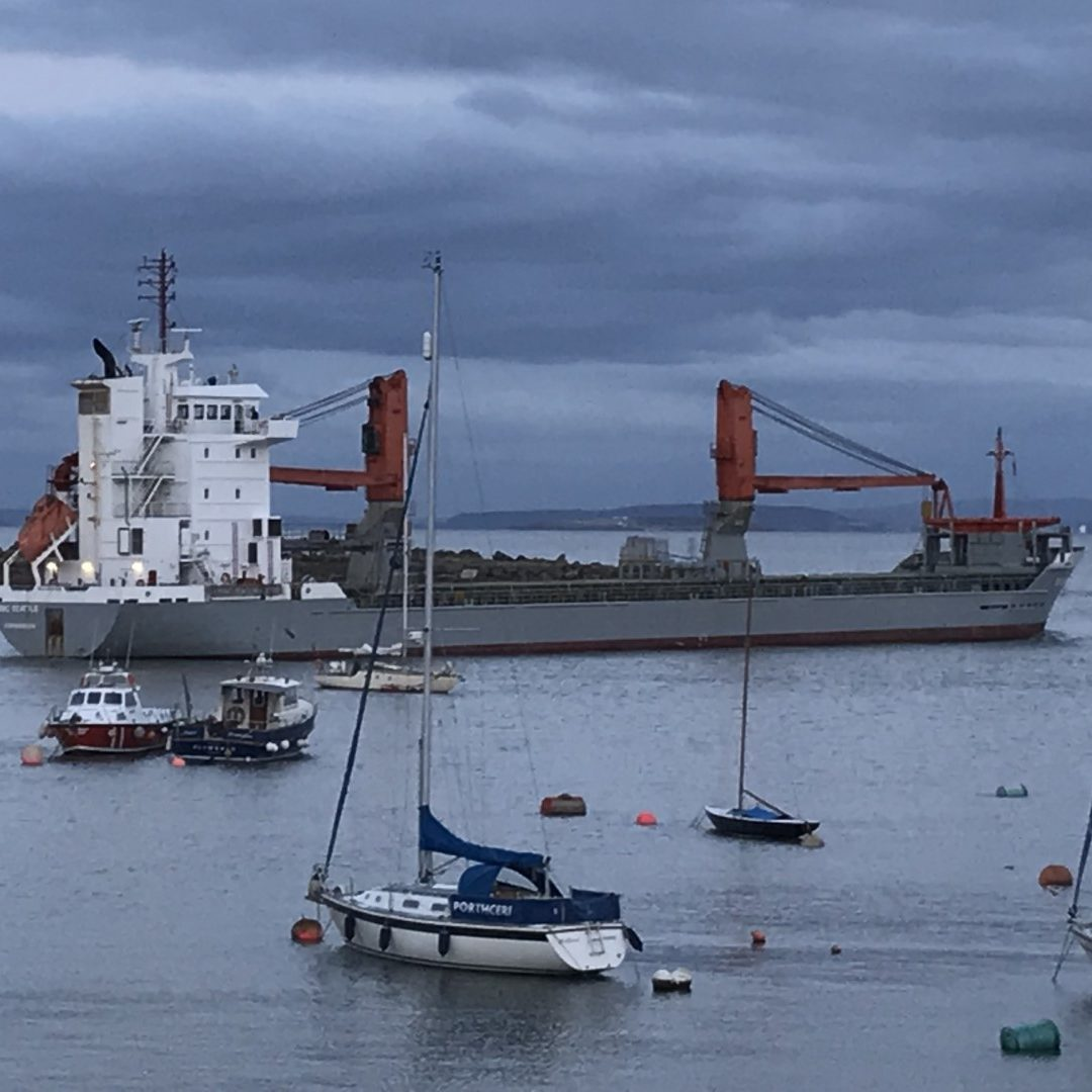 Ship leaving Barry Docks
